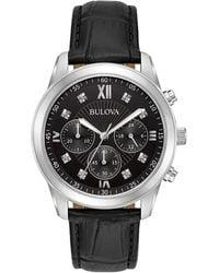 Bulova - Dress Standard Diamond Stainless Steel & Leather-strap Chronograph Watch - Lyst