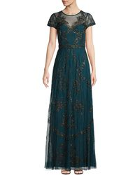 Adrianna Papell Beaded Sheer Gown - Multicolor