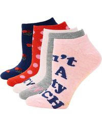 Juicy Couture 5-pack Graphic Ankle Socks - Pink