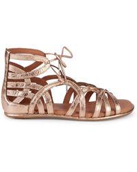 Gentle Souls Leather Ghillie D'orsay Flat Sandals - Multicolour