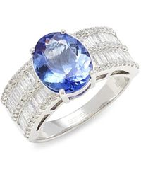 Effy Women's 14k White Gold, Diamond & Tanzanite Ring - Size 7.5 - Metallic