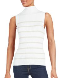 Saks Fifth Avenue Black - Sleeveless Striped Top - Lyst