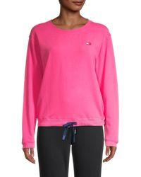 Tommy Hilfiger Women's Drawstring-hem Sweatshirt - Fuchsia - Size L - Pink