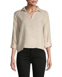 Saks Fifth Avenue Linen High-low Shirt - Natural