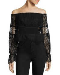 Kendall + Kylie - Off-the-shoulder Lace Top - Lyst