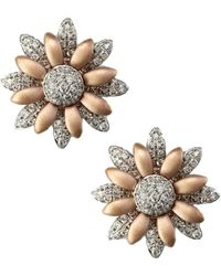 Effy - Diamond Flower Earrings In 14 K White And Rose Gold, 0.5 Ct. T.w. - Lyst