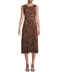 T Tahari Women's Pleated Print Dress - Brown Black Print - Size 10