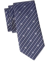 Ferragamo Men's Logo-print Striped Silk Tie - Blue