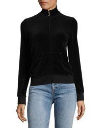 Juicy Couture Velour Zip Up Sweatshirt - Black