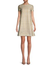 Valentino Women's Printed Shift Dress - Gold - Size 38 (2) - Metallic