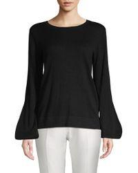 BCBGMAXAZRIA Tie-up Bishop-sleeve Sweater - Black