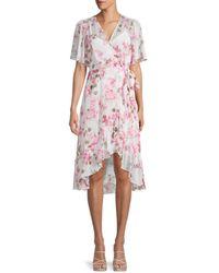 Calvin Klein Floral Ruffle Wrap Dress - Pink