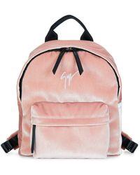 Giuseppe Zanotti Logo Velvet Backpack - Pink