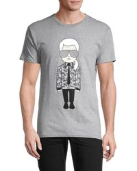 Karl Lagerfeld Men's Graphic Cotton-blend Tee - Black - Size Xxl