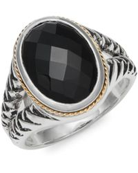 Effy Onyx 18k Gold & Sterling Silver Solitaire Ring - Metallic