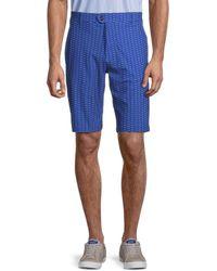 Greyson Printed Flat-front Shorts - Blue