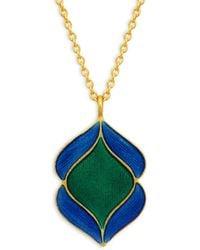 Legend Amrapali Holi 18k Yellow Gold & Enamel Pendant Necklace - Multicolour