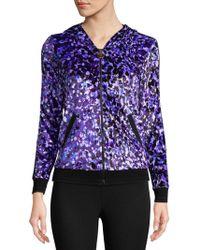Roberto Cavalli Printed Full Zip Hoodie - Purple