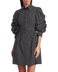 Michael Kors Ruched-sleeve Cotton Shirt Dress - Black