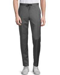 BOSS by Hugo Boss Men's Flat-front Wool Drawstring Pants - Gray - Size 36