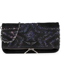 Zadig & Voltaire Women's Rock Star Glitter Shoulder Bag - Black