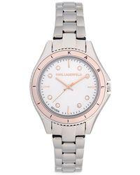 Karl Lagerfeld - Stainless Steel & Crystal Bracelet Watch - Lyst