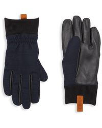 UGG Wool-blend & Leather Faux Fur-lined Gloves - Blue