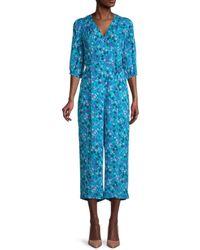 Calvin Klein Floral-print V-neck Jumpsuit - Blue