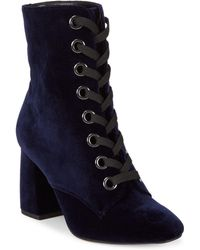 BCBGeneration - Alexa Velvet Lace-up Booties - Lyst