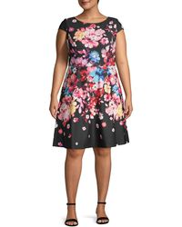 Adrianna Papell Plus Floral-print A-line Dress - Black
