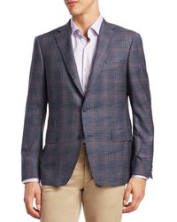 Saks Fifth Avenue Collection By Samuelsohn Plaid Wool Sportcoat - Blue