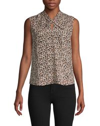 Rebecca Taylor Leopard-print Silk Sleeveless Top - Multicolour