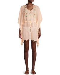 Letarte Tie-waist Embroidered Coverup Dress - Multicolour