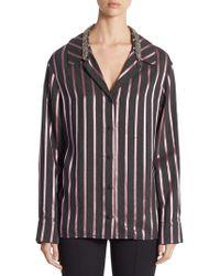 Alexander Wang - Crystal-trim Striped Pyjama Top - Lyst