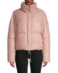 Apparis Women's Camila Oversized Vegan Leather Puffer - Blush - Size L - Pink