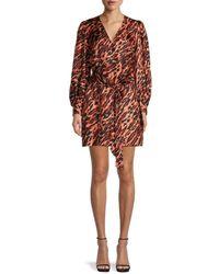 Sandro Lunas Tiger-print Silk Dress - Brown