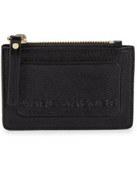 Marc Jacobs Top Zip Leather Coin & Card Holder - Black