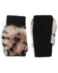 Adrienne Landau Dyed Rabbit Fur-trim Fingerless Gloves - Brown