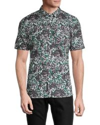 French Connection Men's Printed Short-sleeve Shirt - Urban Green - Size M