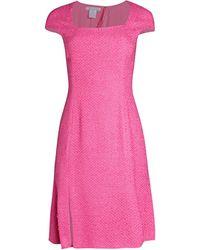 Oscar de la Renta Cap-sleeve Squareneck Dress - Pink