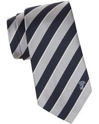 Versace Men's Stripe Silk Tie - Navy Yellow - Blue