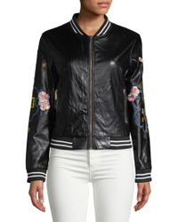 Saks Fifth Avenue - Embroidered Faux-leather Bomber Jacket - Lyst