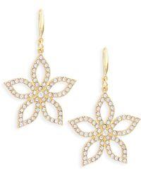 Ava & Aiden - Goldtone Crystal Flower Drop Earrings - Lyst