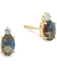 Saks Fifth Avenue - Diamond, Labradorite And 14k Gold Stud Earrings - Lyst