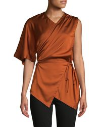 Yigal Azrouël Belted Draped Satin Top - Brown