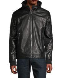 Karl Lagerfeld Men's Hooded Leather Jacket - Black - Size M