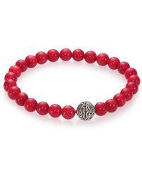John Hardy - Batu Classic Chain & Stabilized Red Coral Bead Bracelet - Lyst