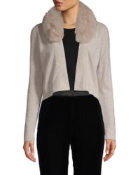 Minnie Rose - Fox Fur-trimmed Cropped Cashmere Cardigan - Lyst
