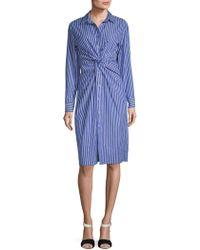 Lea & Viola - Striped Cotton Shirtdress - Lyst