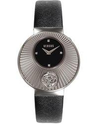 Versus Women's Stainless Steel, Swarovski Crystal & Leather Strap Watch - Black